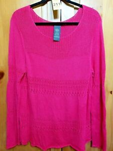 Chelsea-and-Theodore-Womens-Size-XL-Pullover-Sweater-Open-Knit-Pink-Long-Sleeve