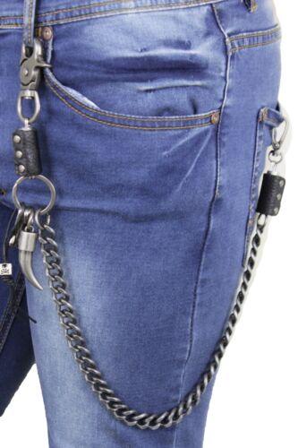 Men Silver Metal Wallet Chunky Chain Skull KeyChain Biker Trucker Long Horn Bull