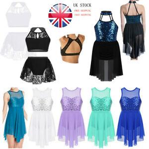 Kid-Girl-Lyrical-Ballet-Dance-Dress-Sequins-Leotard-Tutu-Skirt-Dancewear-Costume