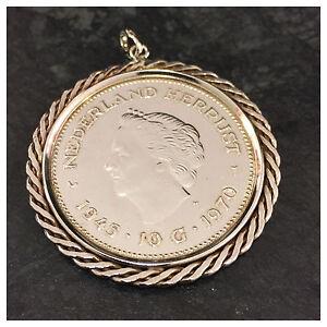 Münzanhänger Anhänger Münze Königin Juliana Niederlande 10 Gulden