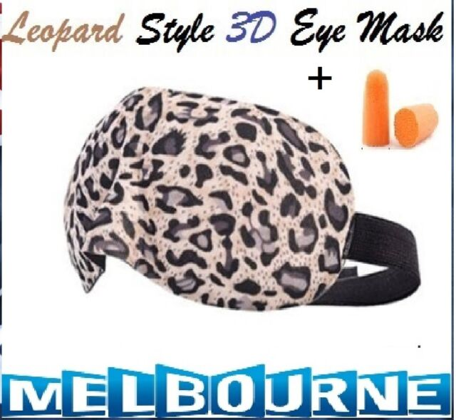 Leopard Travel Sleep Eye Mask soft 3D Foam Padded Shade Cover Sleeping Blindfold