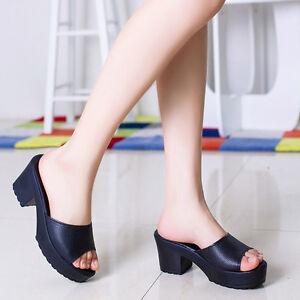 0fd0b2f9f8 Image is loading Women-Fashion-Wedges-Flip-Flop-Sandals-Stylish-High-