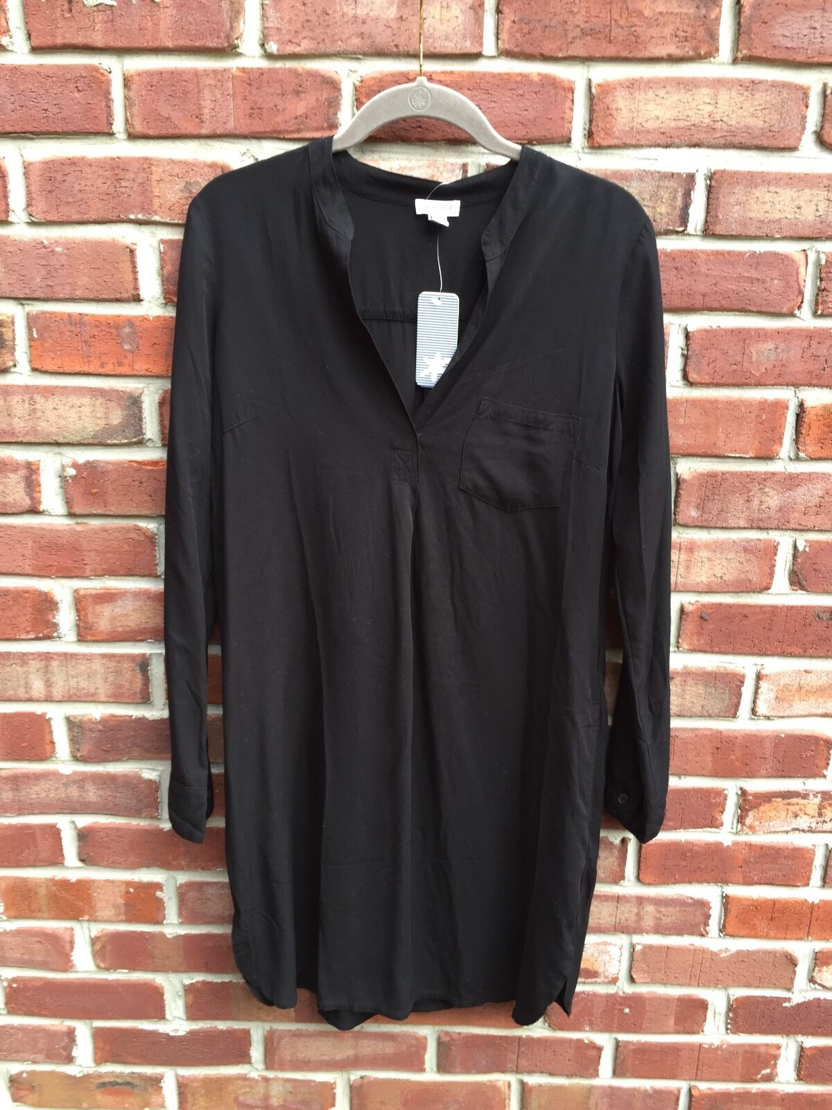 SPLENDID schwarz Shirt  Dress Tunic Shirt Pocket Long XS NEW   Anthropologie