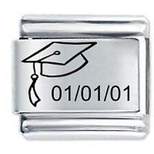 Personalised GRADUATION CAP Date Gift 9mm For Classic Size Italian Charm Bracel
