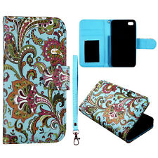 Teal Paisley Wallet Pu Leather Flip Right  Strip fo Apple Iphone 4 4s Case Cover