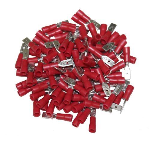 LOT DE 100 COSSES ELECTRIQUES ISOLEES A SERTIR PLATES 4.75 MM MALES ROUGE C1265