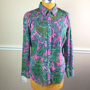 Talbots-Womens-Top-Button-Front-Colorful-Paisley-Long-Sleeve-Cotton-Size-M