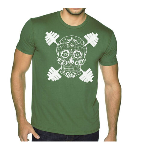 New Men/'s Sugar Skull Dumbbell Military Green T Shirt Workout Gym Tee Muscle