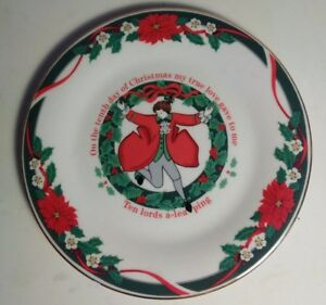 Tienshan-Fine-China-12-Twelve-Days-Of-Christmas-Ten-Lords-A-Leaping-7-5-034-Plate