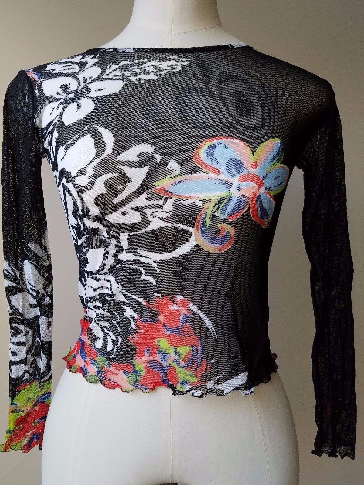 Ch &  039;i Glamour Mujer Negro Con Flores azulsa Talla 42 Italia  punto de venta barato