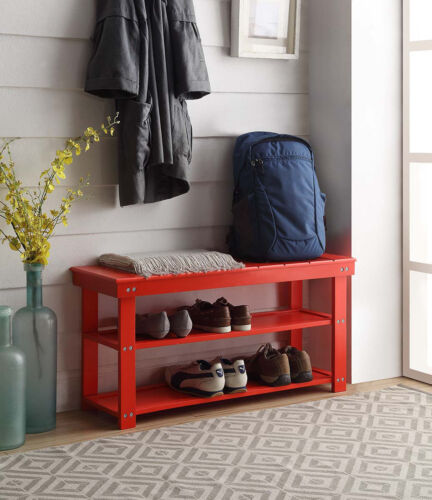 Red Finish Oxford Utility Mudroom Bench 203300R