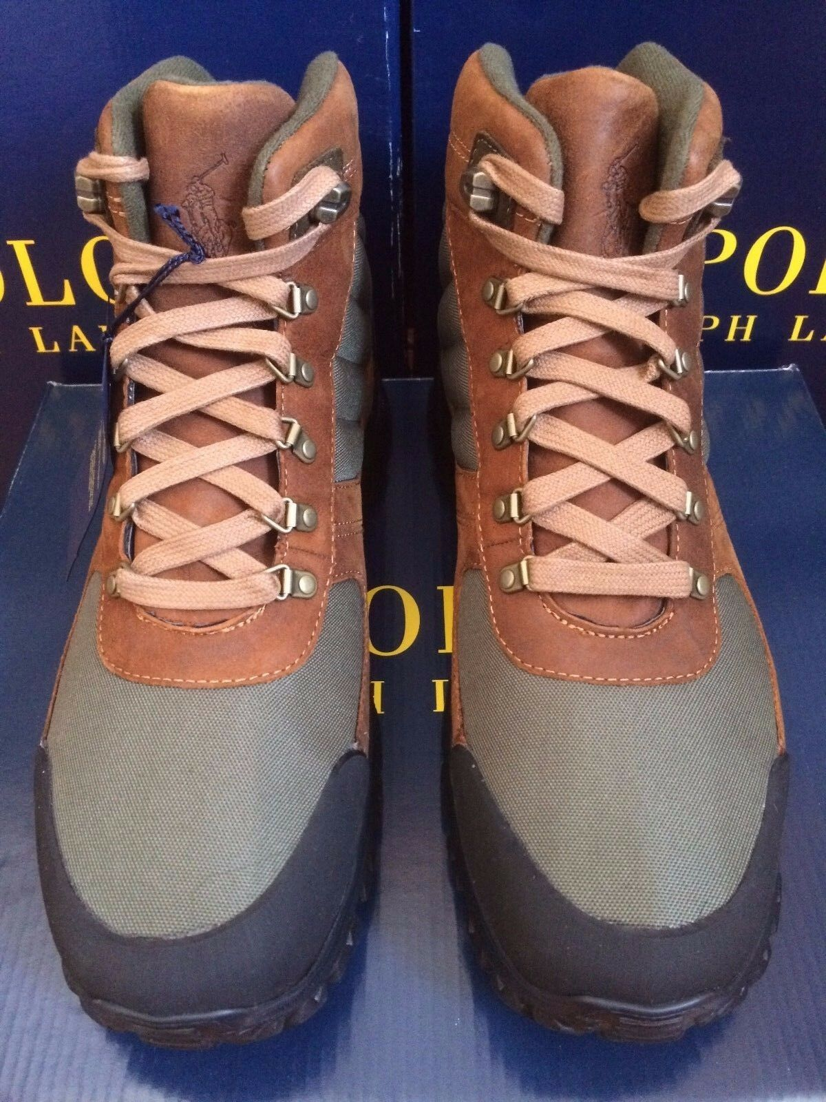 NIB POLO RALPH LAUREN BROWN SUEDE GREEN UPPER BROWN LACES ANKLE HIKING BOOTS
