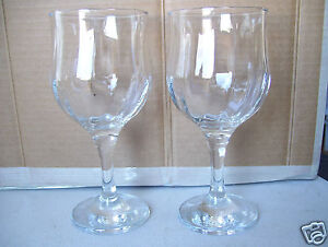 Wine-glasses-set-of-2-footed-stemmed-7-034-glass-bar-glassware-drinking-drinks