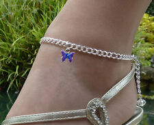 LOVELY ELEGANT ANKLET ANKLE CURB CHAIN CRYSTAL & PURPLE / BLUE BUTTERFLY CHARM