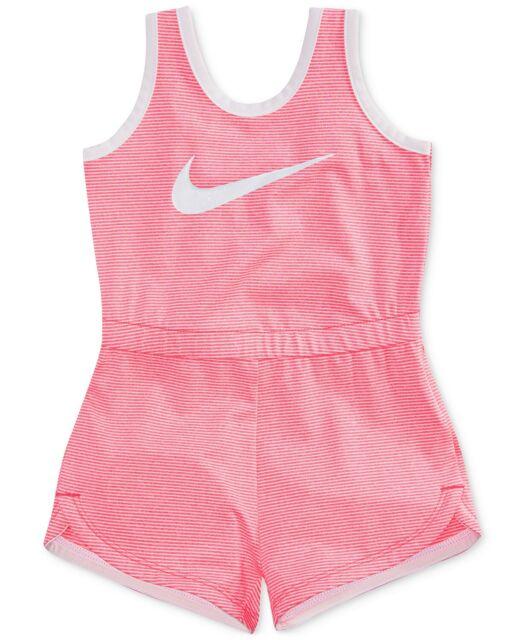 bdf3a365f5be Nike Drifit Little Girls Striped Swoosh Romper Sports Essentials NWT Size 6