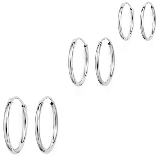 14k White Gold Continuous Endless Hoop Earrings Ears Cartilage Nose Or Lips