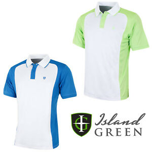 11c91441 Island Green Mens Golf Polo Shirts Two Tone Short Sleeve Two Button ...