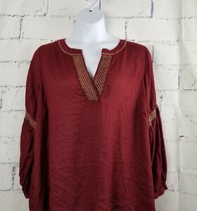 Lane-Bryant-Boho-Tunic-Top-plus-22-24-red-w-gold-thread-embroidery-rayon-AH6