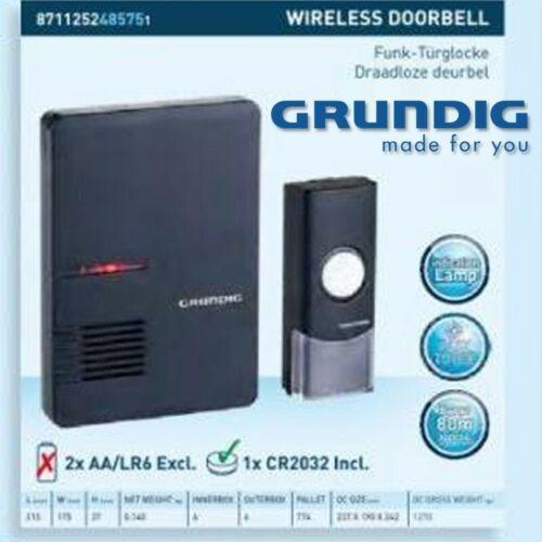 FUNK Türklingel GRUNDIG Anlage Drahtlos Batterie Klingel Tür Gong Glocke Schelle