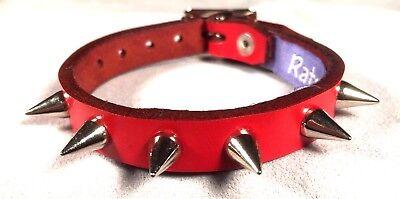 BLACK Leather Small DOMED Stud bracelet wristband wrist cuff Steam punk RATS BUM