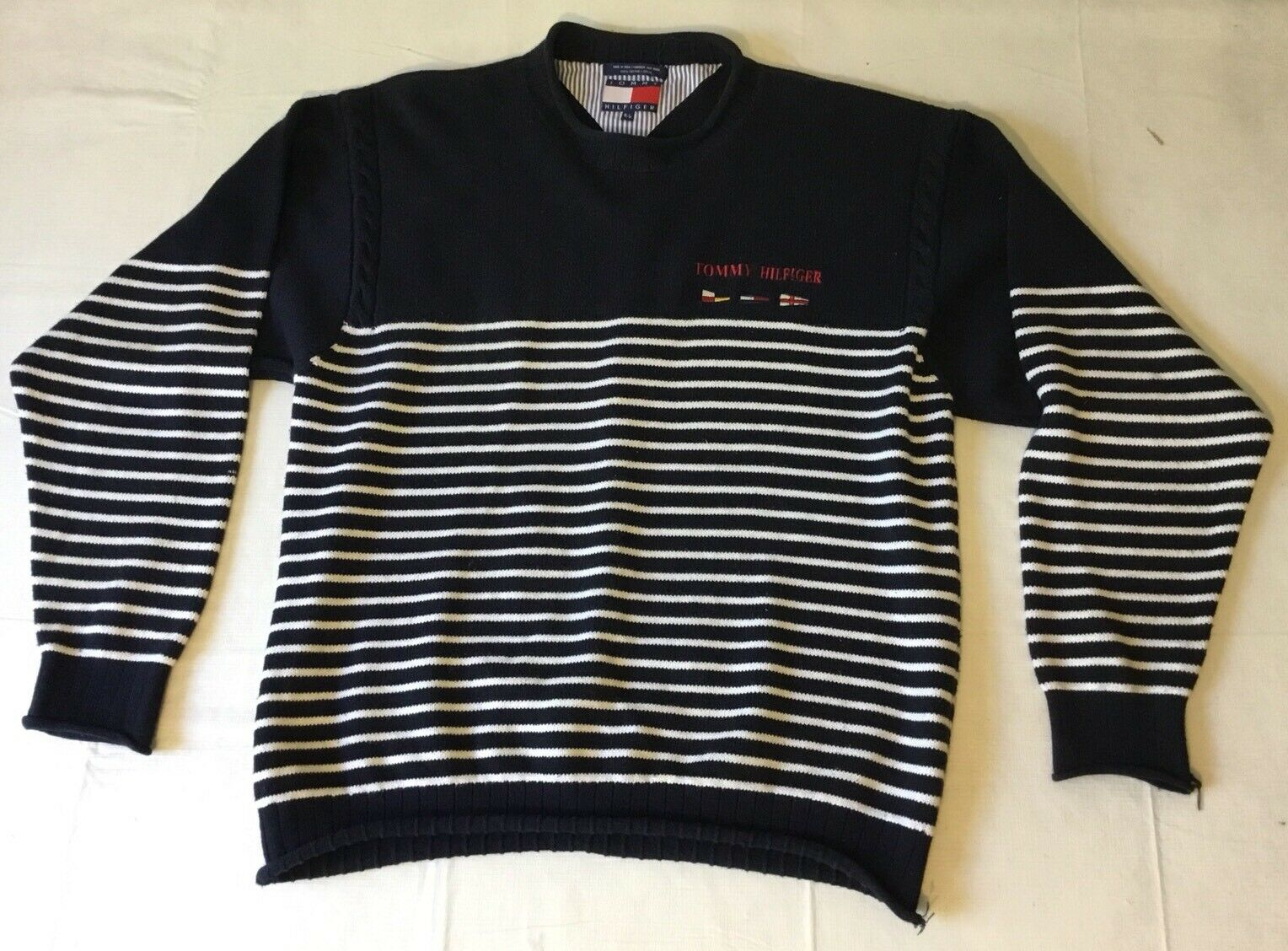 Vintage 90s Tommy Hilfiger Sailing Boat Flag Knit Sweater Striped Blau Weiß S