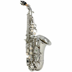 Hawk-Curved-Soprano-Saxophone-Nickel-With-Case-Mouthpiece-and-Reed