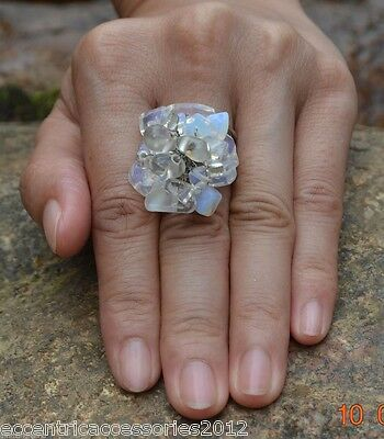 Handmade Thailand Ring CLEAR Stone FAIRTRADE craft Jewelry Adjustable woven
