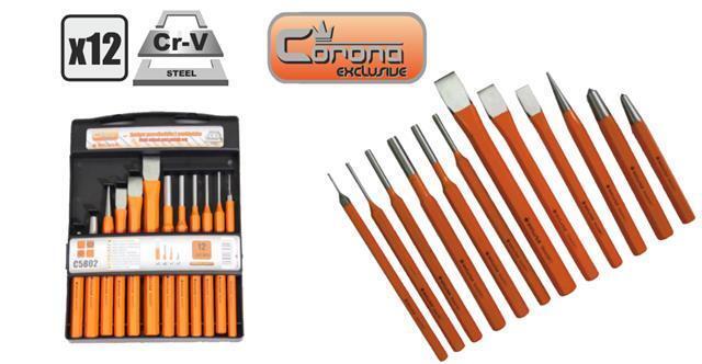 Corona heavy duty chisel and punch set 12 pcs hardened in handy case Cor C5802