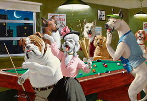 Home Art Wall Decor Dogs Playing Pool Oil Painting Picture Printed