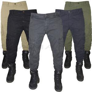Pantaloni uomo Cargo tasche laterali multitasche slim elasticizzati tasconi c1