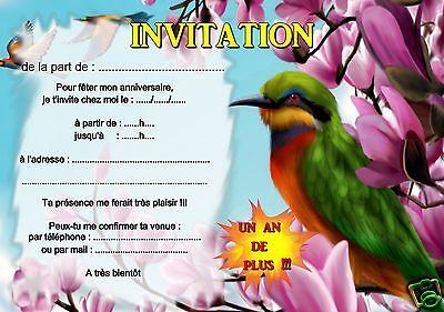 5 ou 12 cartes invitation anniversaire oiseau REF 375 | eBay