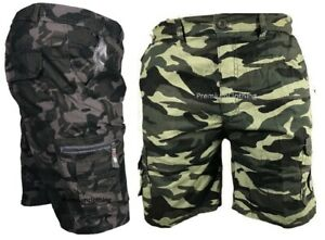 Mens-Army-Camouflage-Cargo-Elasticated-Shorts-Cotton-Combat-Half-Pants-M-3XL