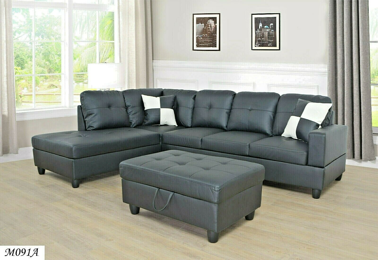 3 Piece,Black Color Faux Leather Right-Facing Sectional Sofa Set with ...