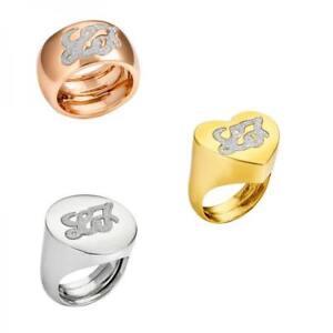 Anello LIU JO Luxury DESTINI Ottone Regolabile da 10 a 16 Gold Dorato Rosè Cuore