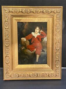 A-Ladd-Artist-Oil-Painting-On-Wood-Young-Boy-Art-Gold-Gilded-Frame