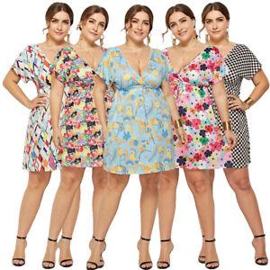 d037d095fa7 Plus Size Women Boho Floral Print V-Neck Short Sleeve Mini Dress ...