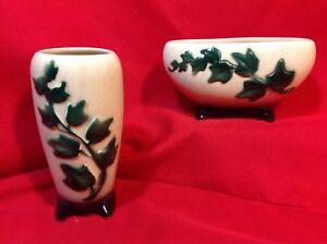 Vintage Matching Vase and Planter Glazed Ceramic very light green w/dark green