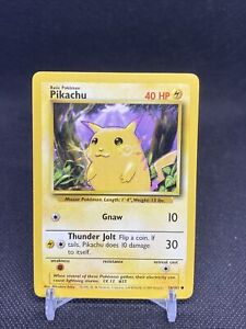 Pikachu 58/102 LP Lightly Played Yellow Cheeks Base Set Non-Holo Pokemon Card