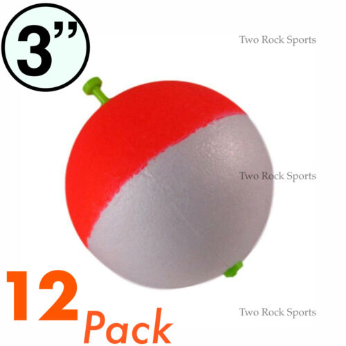 "RED /& WHITE 3-250 Bulk Pack 3/"" inch Round Foam Snap-On Fishing Bobber Floats"