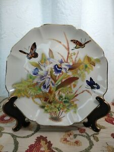 Vntg-TOYO-PLATE-Tropical-Orchid-designed-by-Magie-Orchids-amp-Butterflies-Japan