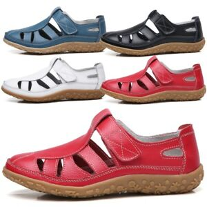Womens-Hollow-Out-Ankle-Strap-Sandals-Ladies-Summer-Beach-Closed-Toe-Flat-Shoes