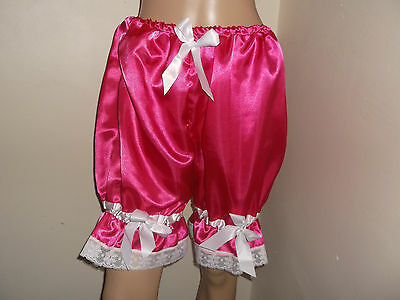 DEEP PINK SATIN WHITE  LACE BLOOMERS VICTORIAN LOOK  30-46W