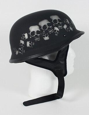 Black Skull German Motorcycle Helmet DOT Skeleton Biker Bone Shorty Half M L XL