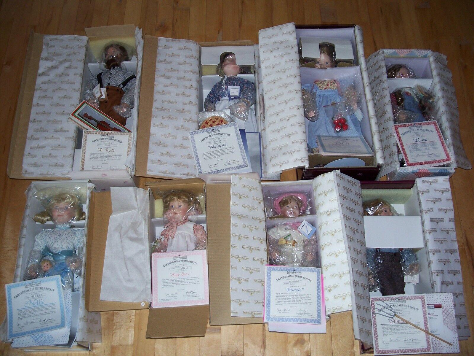 Juego Completo De 8 Muñecas Little Casa de la pradera Ashton Drake Menta en caja Muñeca + certificado De Autenticidad