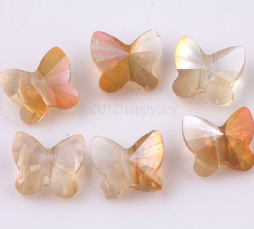 Lot 10//20Pcs Faceted Glass Crystal Butterfly Loose Spacer Beads 8x5mm Accessory