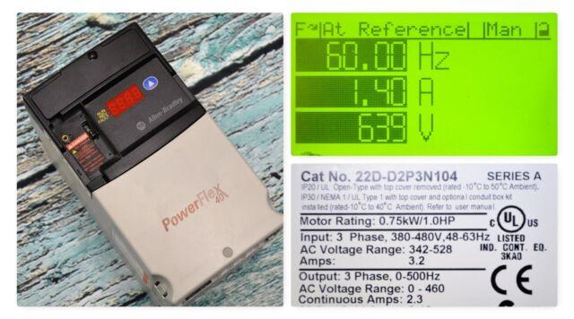 ALLEN BRADLEY 22D-D2P3N104 SERIES A POWERFLEX 40P 1 0 HP 342-528V AC DRIVE
