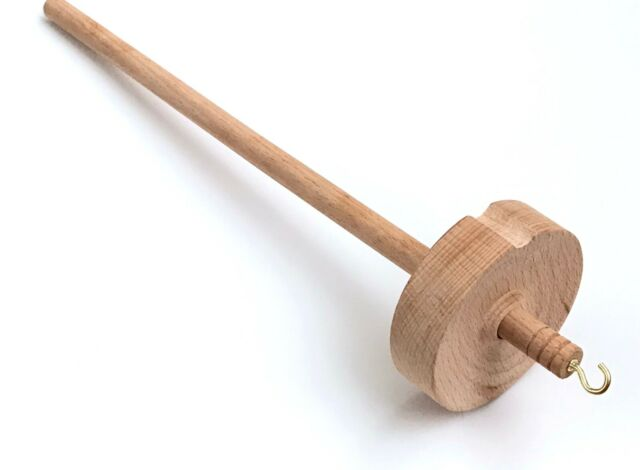 Drop Spindle Top Whorl Yarn Spin Hand Carved Wooden Gift For Beginners Tool M7W8