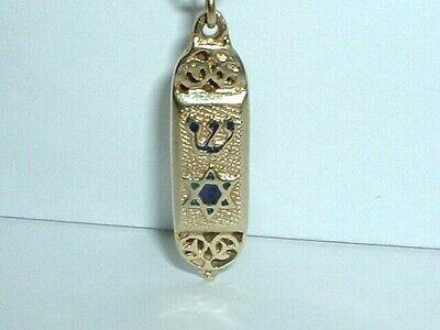 Vintage Mezuzah 14k gold Chai Pendant Charm Judaica Handmade Matte Estate