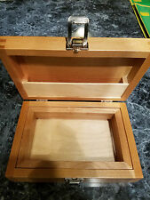 Handcrafted Wood Locking Rolling Tray Stash Box with Frame for Collecting Kief