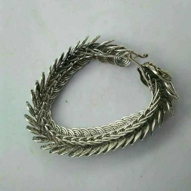 China  Old national style Tibet Silver Carve  dragon head chain Bracelet